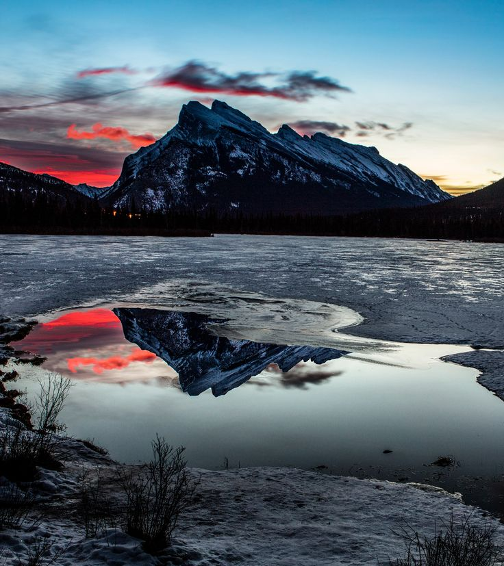 vermillion lakes sunrise - One of my favourite places Vermillion Lakes, Alberta, Sunrises are great here. On this day there was only a small section with no ice on it.