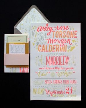 Neon Hand Lettered Wedding Invitations by Ladyfingers Letterpress