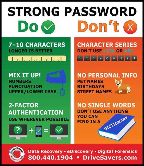 11 Tips For A Stronger Password Drivesavers Data Recovery Services Life Hacks Computer Cyber Security Technology Strong Password