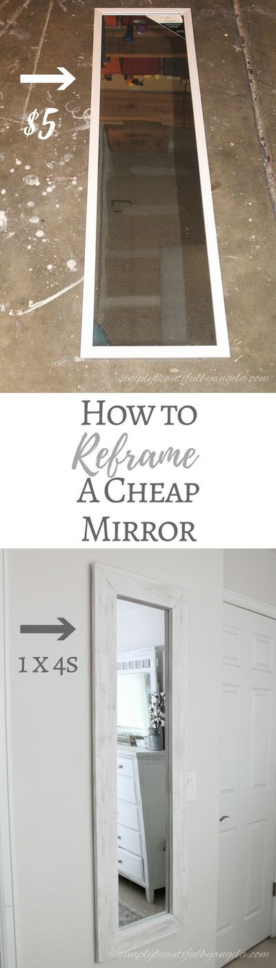 Simply Beautiful By Angela: How to Reframe a Cheap $5 Door Mirror Using 1x4s