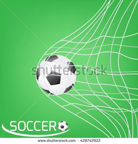 soccer ball or football in the goal net on green background. vector illustration.