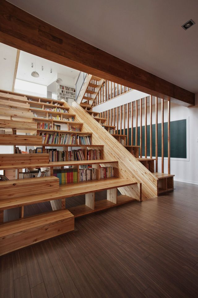 Library with Slide! (Also, risers for sitting, and the wall above this has a huge tv for movies, and underneath is the home office.