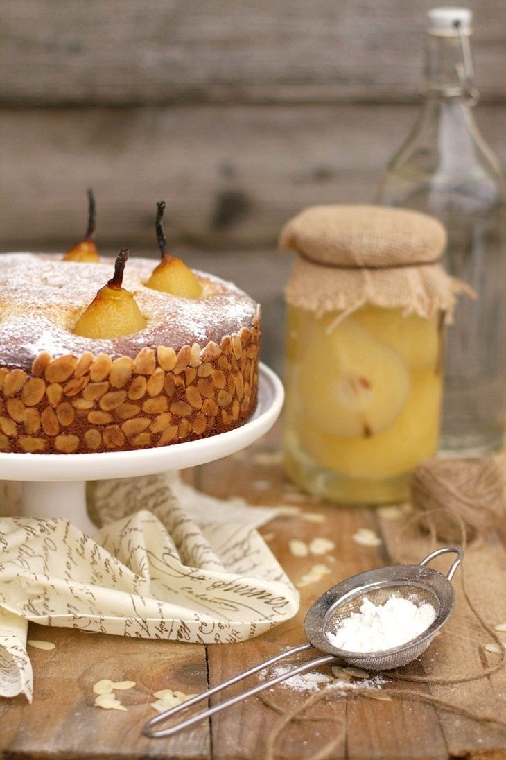 poached pears and marzipan cake