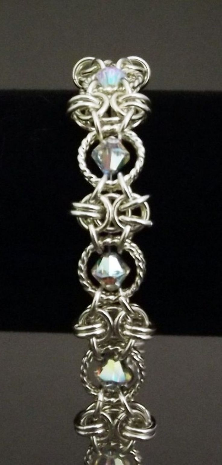 chain maille. Note wire for floating crystals.