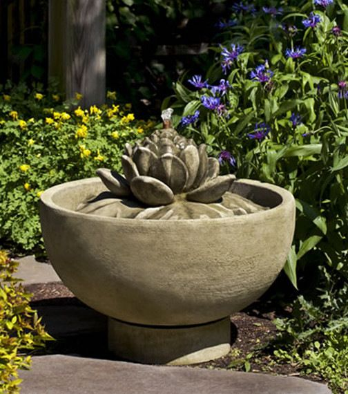Smithsonian Lotus Garden Water Fountain, Copper Bronze asian-outdoor-fountains-and-ponds