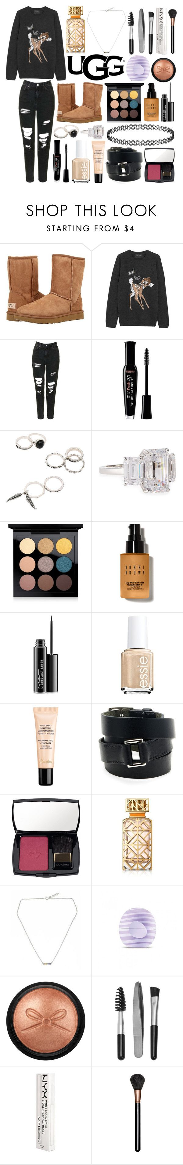 """""""The Icon Perfected: UGG Classic II Contest Entry"""" by eve22s ❤ liked on Polyvore featuring UGG Australia, Markus Lupfer, Topshop, Bourjois, Fantasia by DeSerio, MAC Cosmetics, Bobbi Brown Cosmetics, Essie, Guerlain and Hermès"""