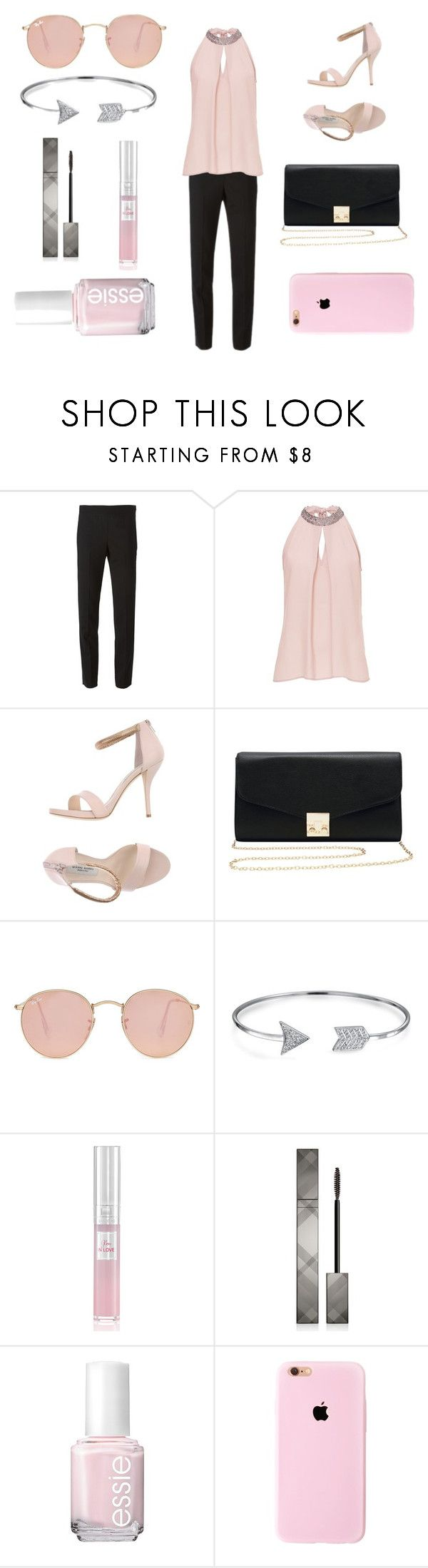 """Pink & Black"" by tayloremilia13 on Polyvore featuring Mode, DKNY, Vera Mont, Gianni Marra, M&Co, Ray-Ban, Bling Jewelry, Lancôme, Burberry und Essie"