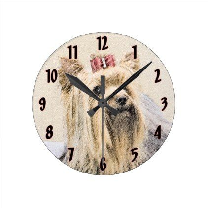 #Yorkshire Terrier Round Clock - #yorkshire #terrier #puppy #terriers #dog #dogs #pet #pets #cute #yorkshireterrier