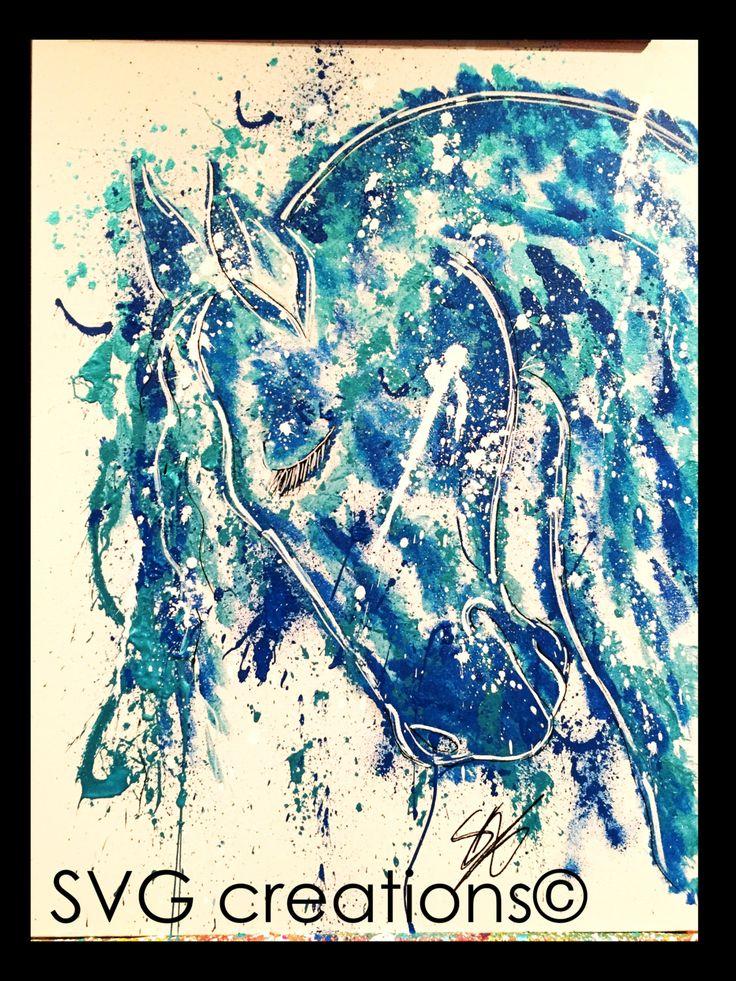 Cheval abstrait sur toile à l'acrylique 18 x 24 / Horse head on canvas by acrylic 18 x 24 de la boutique SVGCreations13 sur Etsy