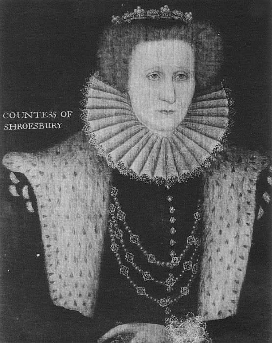 A portrait of Elizabeth, Countess of Shrewsbury. By an unknown artist, c. 1580. The portrait hangs in Hardwick Hall.