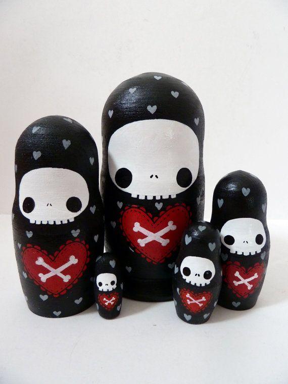 Halloween Skull Russian Dolls  Set of 5 hand by PonyChopsShop, £20.00