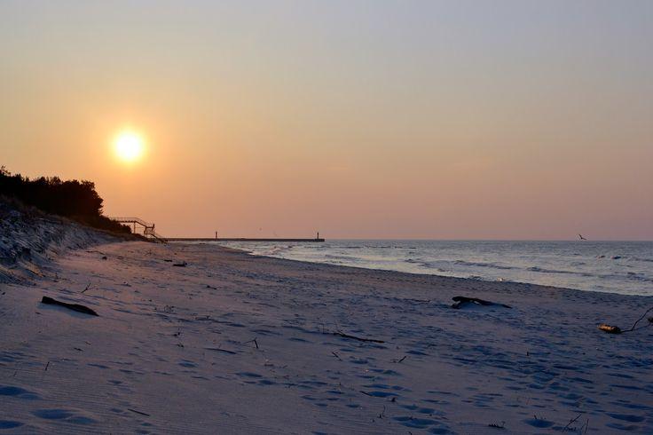 Sunset, sea, beach, seashore, shore, sun, sand, Bałtyk, morze, zachód słońca, plaża