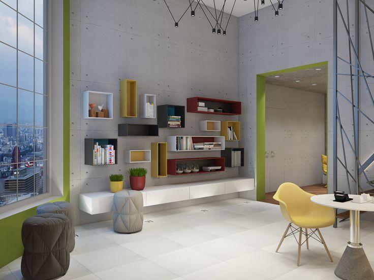 Небольшая релакс зона для сотрудников офиса: кофейные столики, библиотека и мягкие пуфы.