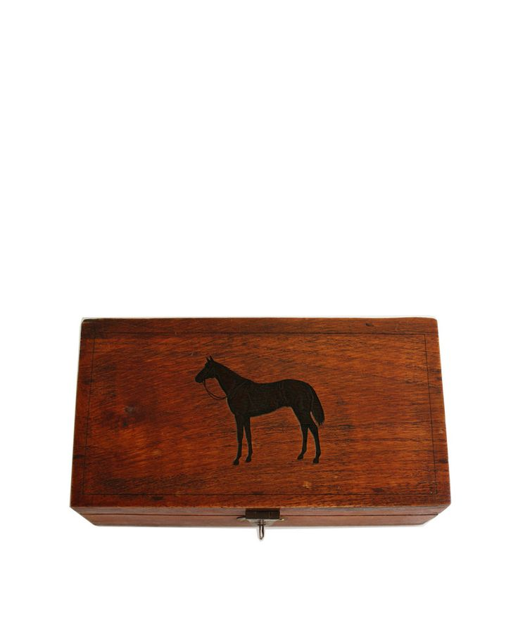 Brass home decor thoroughbred horse etched wooden box etched wooden