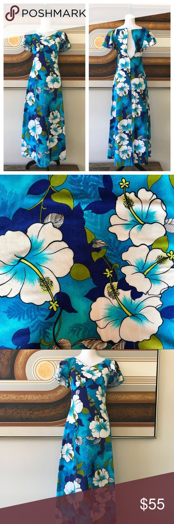 Vintage 60s Hawaiian Floral Blue Maxi Dress Sz 2 One of my favorite vintage Hawaiian finds! Super bright floral (hibiscus) dress w/butterfly sleeves, empire waist & hidden back zipper. Color palette: turquoise, cobalt, white, black, olive & chartreuse. Used to fit me, but alas, no more.  Pomare Hawaii brand. No size so I'm guessing size 2/small/XS (but please check measurements!). Excellent pre-loved condition w/no flaws. Truly gorgeous! 50s, 70s, mod, retro, festival, Hawaii, cruise, party…