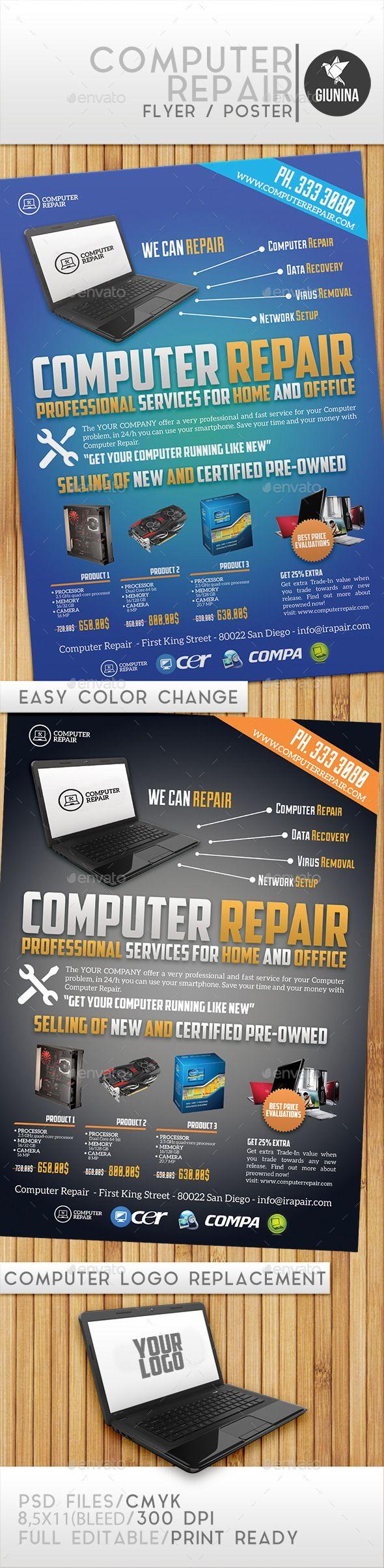 Computer Repair Flyer Template #design Download: http://graphicriver.net/item/computer-repair/12465842?ref=ksioks