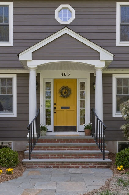 traditional exterior by Michael Sisti: Yellow Front Doors, Grey House, Color Schemes, White Trim, Exterior Color, House Color, Gray House, Front Doors Color, Yellow Doors