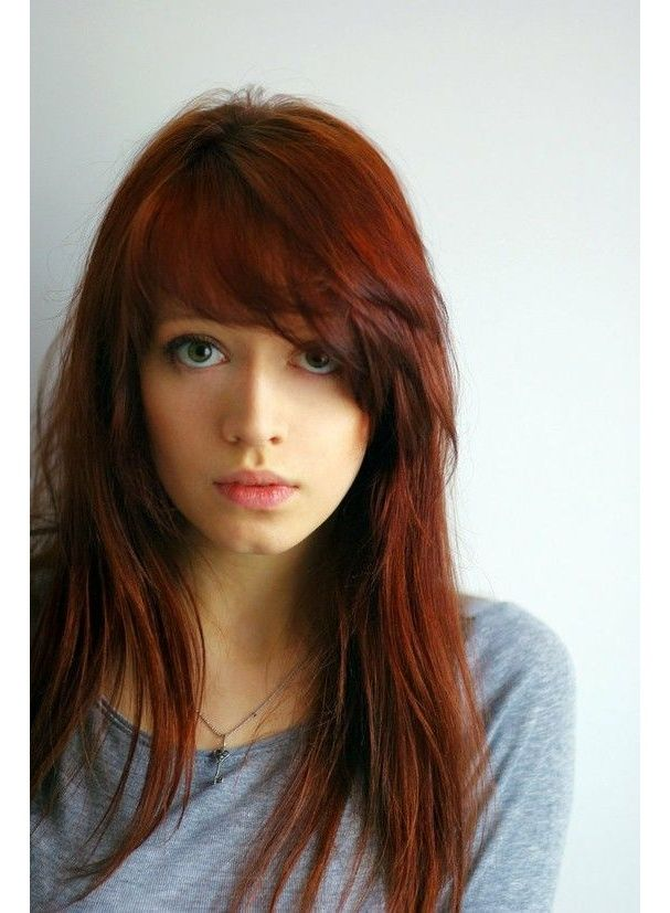 Wanna add a little more dark red to my hair. Cute bangs but probably wouldn't do full forehead though.