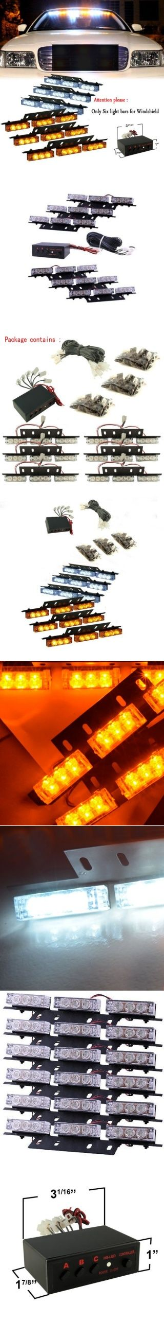 Nilight(TM) White And Amber 54 X Ultra Bright LED Emergency Warning Use Flashing Strobe Lights Bar For Windshield High Quality
