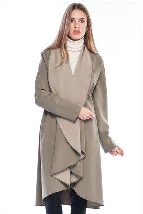 Pitti - Kadın Tekstil - Küf Yeşili Vizon Kaban 70359 %60 indirimle 39,99TL ile Trendyol da
