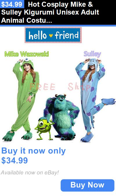 Halloween Costumes: Hot Cosplay Mike And Sulley Kigurumi Unisex Adult Animal Costume Onesies Pajamas BUY IT NOW ONLY: $34.99