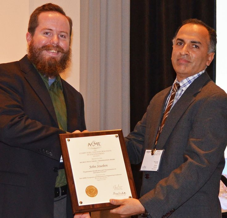 """John Steuben (ME PhD graduate, December 2014) received the prestigious American Society of Mechanical Engineers (ASME) 2015 Best PhD Thesis of the Year Award for his dissertation entitled """"Massively Parallel Engineering Simulations on Graphics Processors: Parallelization, Synchronization, and Approximation."""" The award is presented in recognition of promising young investigators who author the best PhD thesis of the year in the area of computers and information on engineering. Steuben is now…"""