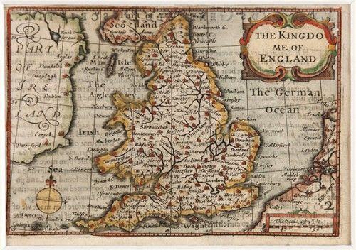 VAN DEN KEERE, Pieter. The Kingdome of England.  Original copper engraved map with later hand colouring. The North Sea is described here as 'The German Ocean'. With compass rose, decorative cartouche and a scale of miles. c. 1627. #greatbritain #england #wales