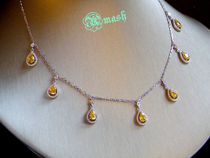 Important Notice:I only post toUnited States , Europe , UK , Australiaat the moment . Buyers from other countries want to buy my items please contactfor details.    Its a modern choker style necklace for special occasions ,yellow simulated diamonds in pear drop cut, full of sparkle,be sure get a lot of attraction.  Weight : 7.04 grams      Note: box or any other items shown in pictures only for display purpose not included in the listings.    Material and Care    Polished 925 sterling…