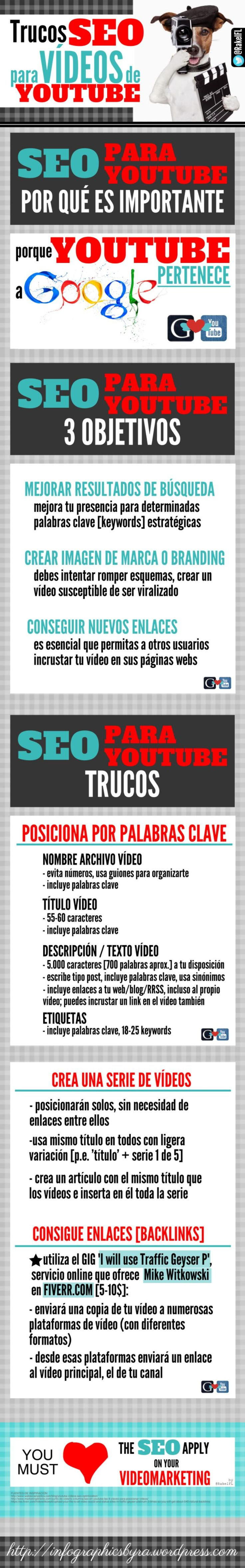 Una infografía en español que nos habla de la importancia del SEO para los vídeos de YouTube. Ofrece diversos trucos SEO para YouTube muy fáciles de seguir.