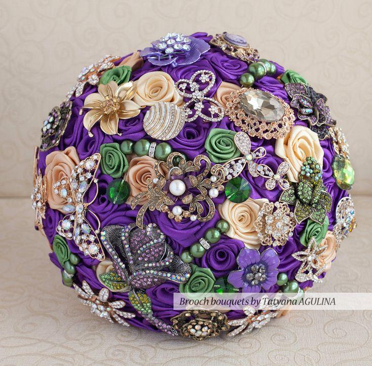 Brooch bouquet. Purple Green and Gold wedding by TatyanaAgulina