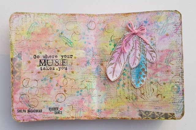 * Rubber Dance Blog *: Feathers - Art Journal Page Mixed Media with Pastel Colours