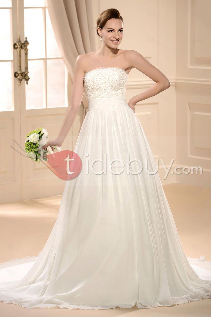 Classical Ball Gown Strapless Floor-length Chapel Flowers Wedding Dress