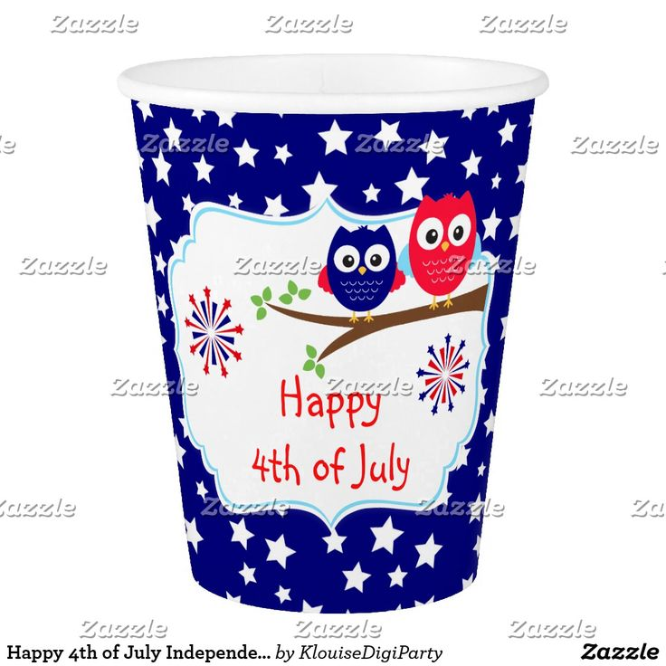 Happy 4th of July Independence Day Owls Paper Cup