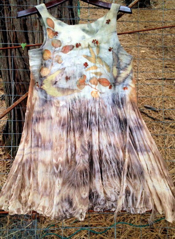Nuno Felted Eco Print Silk and Ultra Fine Merino Wool Dress
