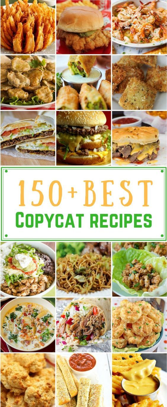 Best Copycat Recipes From Top Restaurants. Awesome Recipe Knockoffs from Chipotle, Starbucks, Olive Garden, Cinabbon, Cracker Barrel, Taco Bell, Cheesecake Factory, KFC, Mc Donalds, Red Lobster, Panda Express #recipes