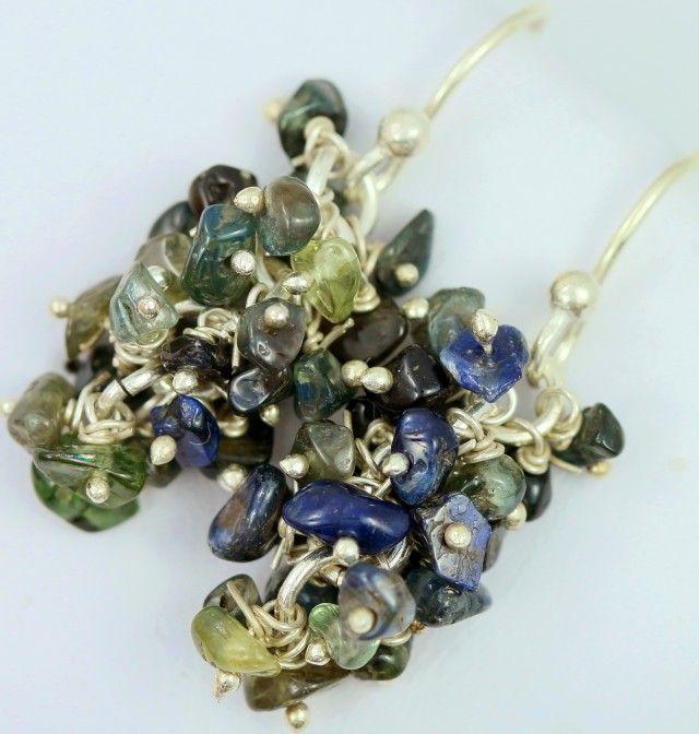 AUSTRALIAN ROUGH SAPPHIRE EARRINGS PPP 1013  sapphire  gemstone earrings , gemstone silver earrings