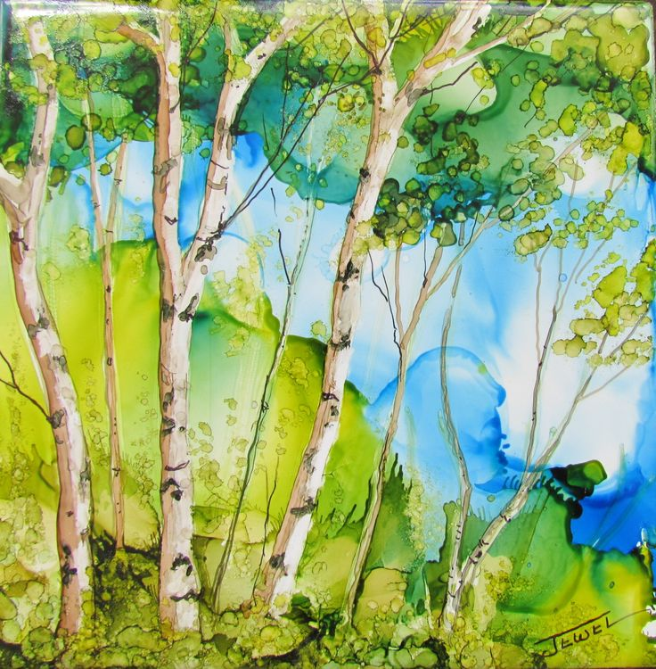 alcohol ink on ceramic tile  by Jewel Buhay