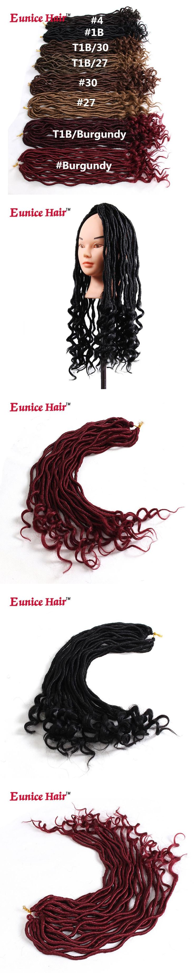 22 Roots Faux Locs Curly Crochet Hair 20 inch Eunice Crochet Braids Two tone Ombre brown/burgundy Synthetic Hair Extensions