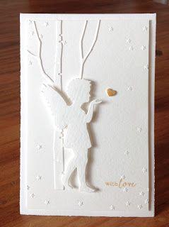 """Die schlichte Karte: Engelsgleich, """"Engel mit Stern"""" und Folder """"Sternenregen"""" Alexandra Renke, """"Tall Birch"""" Memorybox, """"Message me"""" Clearly Besotted"""