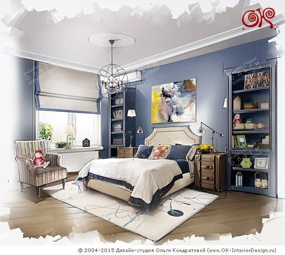 Дизайн синей спальни в морском стиле  http://www.ok-interiordesign.ru/blog/dizayn-siney-spalni-v-morskom-stile.html