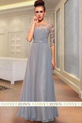 Original Bateau Long Silver Evening Dress
