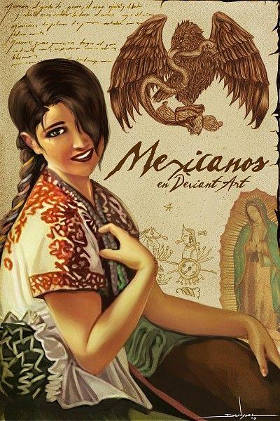Poder mexicano! El collage de nuestro ID representa múltiples cosas que identifican a México. Un trozo del Himno Nacional Mexicano, la belleza de las mujeres mexicanas en su traje típico; el águila...
