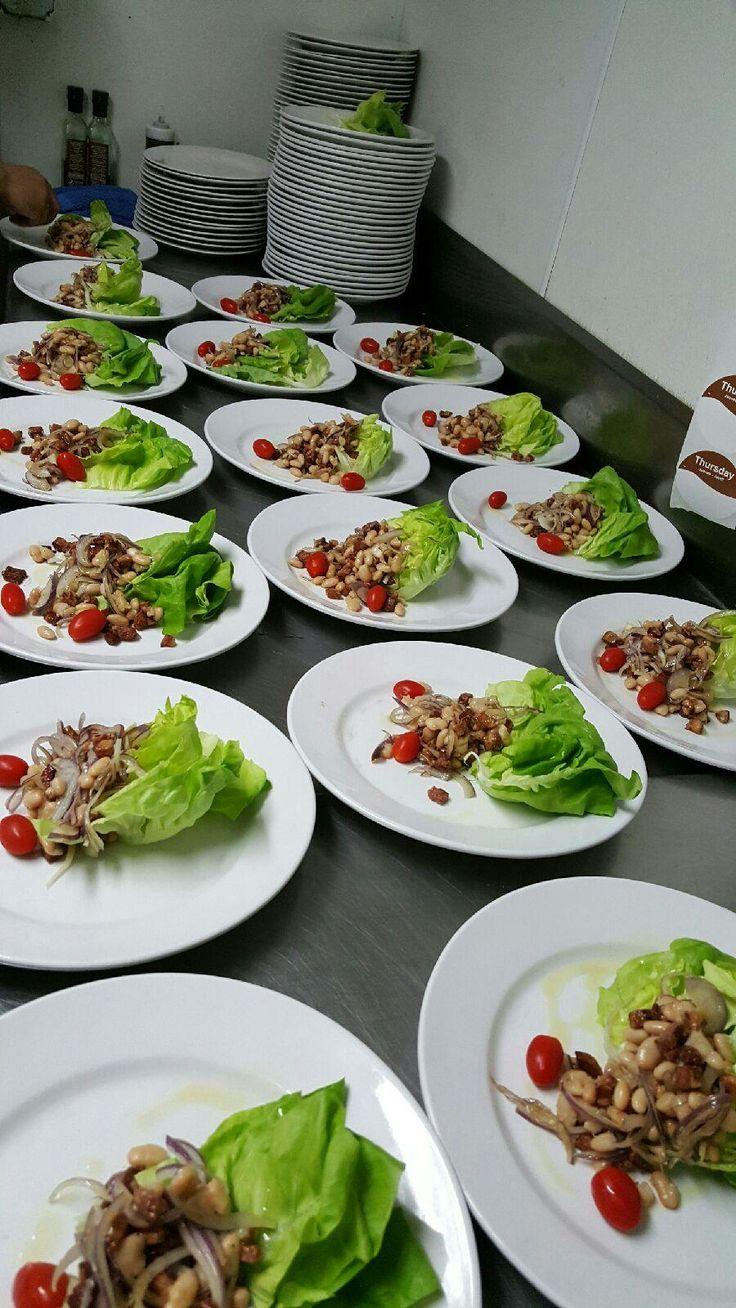 Insalata Fiorentina Bib lettuce with Cannellini -Beans, crispy Pancetta,  cherry tomatoes, and onion sautéed in olive oil