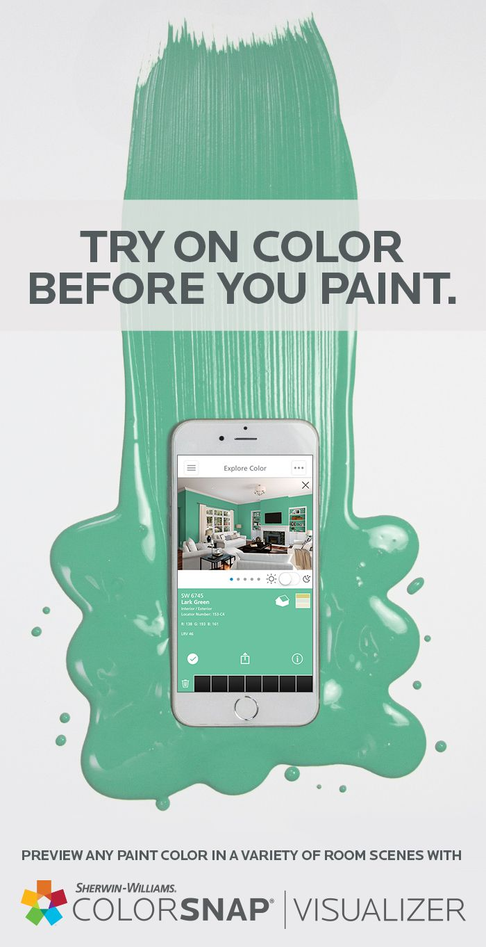 ColorSnap® Visualizer for iPhone or Android lets you capture any color from any photo and try it out on the walls in one of our room scenes. We'll even give you the Sherwin-Williams paint color equivalent. Once you find that perfect hue, simply pick up some paint, pick up a brush and pick up the compliments from family and friends. Download the app today.