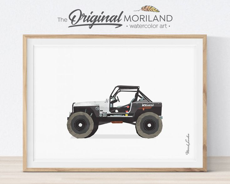 YJ Jeep Print, Jeep Wrangler Wall Art, Jeep Wall Decor, Watercolor Art, Vehicle Wall Art, Teenage Boy Room Decor, Printable Art by MORILAND on Etsy