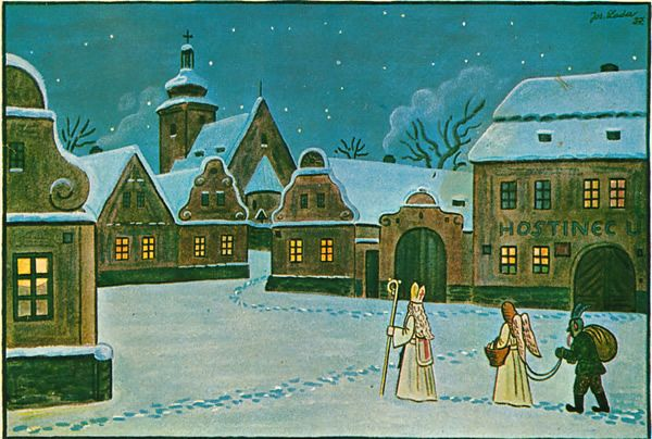 1937 czech post card st. nicholas with angel and devil