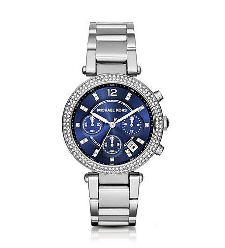 On sale Michael Kors Parker Pavé Silver-Tone Watch