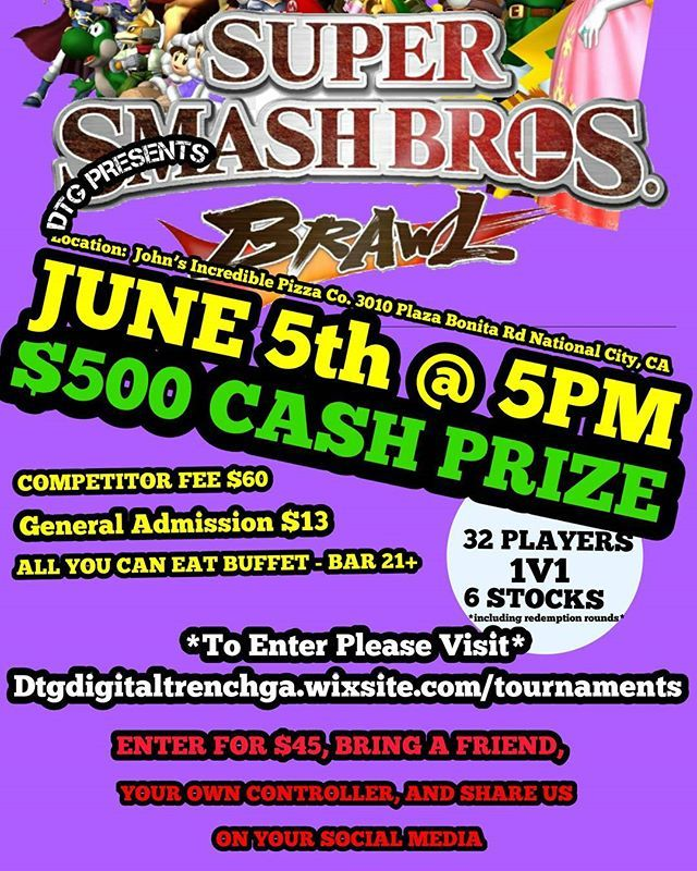 ⚠️SIGN UP TODAY LINK IN BIO 💥SUPER SMASH BROS. BRAWL TOURNAMENT💥 CASH PRIZE JOIN US ON JUNE 5TH @ 5PM AT 3010 Plaza Bonita Rd, National City, CA 91950 for an awesome SSBB tournament. 💥CHECK OUT THE VENUE FOR THE TOURNAMENT, PIZZA BUFFET, BAR🍻 AND MUCH MORE👍 #supersmashbros  #sandiego #sandiegoevent #imperialbeachlocals #sandiegoconnection #sdlocals #iblocals - posted by 💥SUPER SMASH BROS TOURNAMENT🕹️  https://www.instagram.com/digitaltrenchgaming. See more post on Imperial Beach at…
