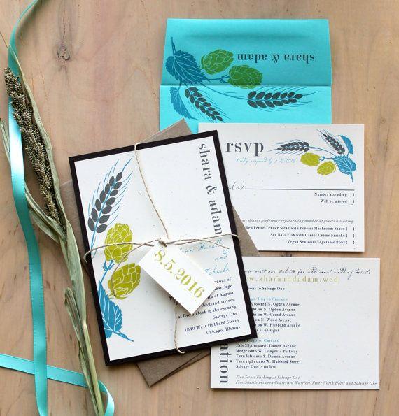 Brewery Wedding Invitations Rustic Wedding by BeaconLane on Etsy