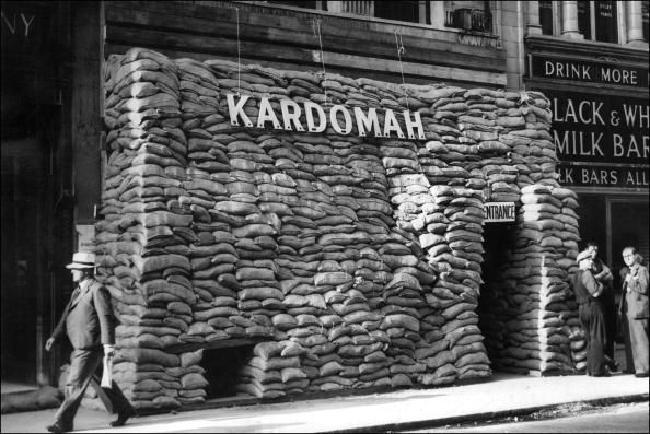 London, 27th September 1939:  Coffee house protected with sandbags at the start of WWII. (Photo credit should read STF/AFP/Getty Images) #london #war #East_End